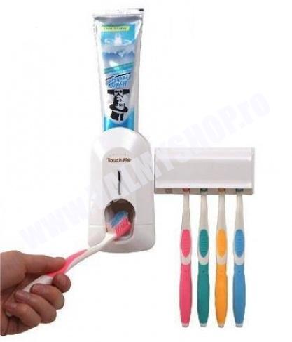 Dozator pentru pasta de dinti cu Suport pentru 5 periute cu capac